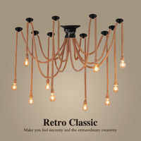 Hemp Rope Chandelier Antique Classical Adjustable Diy Ceiling Spider Lamp Light Retro Pedant Lamp for home 5 16heads