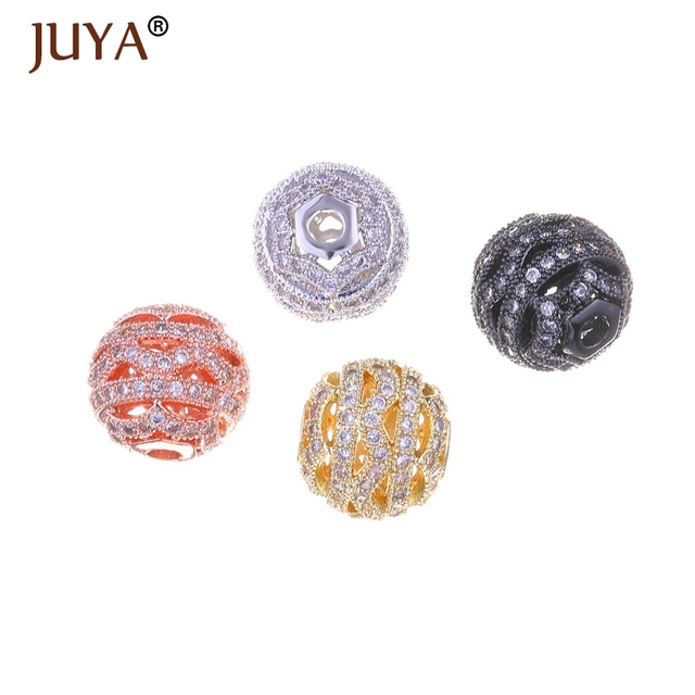 12mm Copper Micro Pave AAA CZ Rhinestone Ball Beads For Jewelry Making DIY  Accessories Findings Gold Silver Rose Gold Black ff31af923b4d