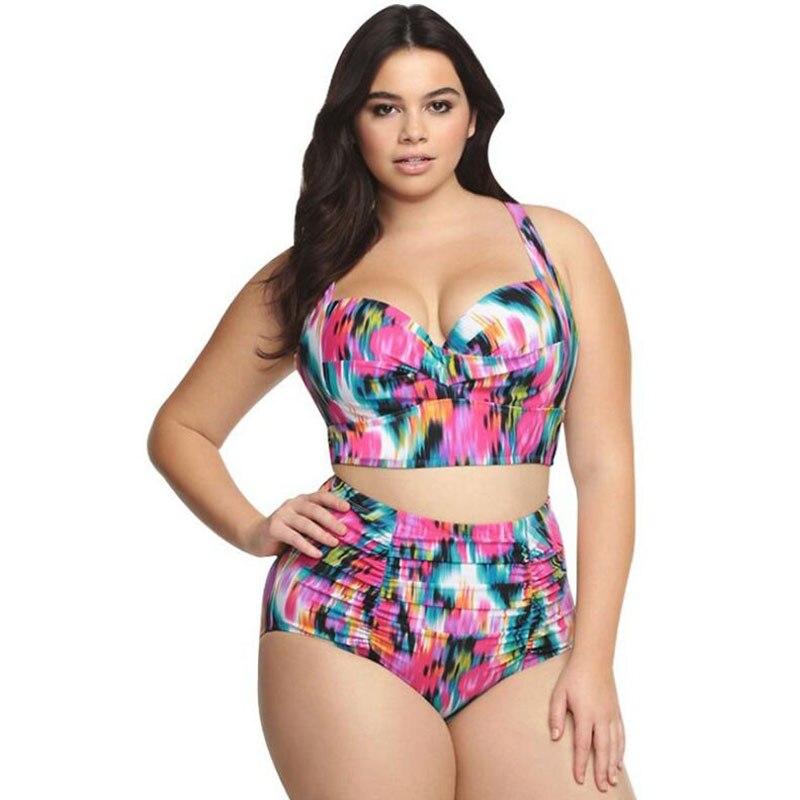 Europe and the United States high size retro fat treasure high waist swimsuit bikini large size swimwear free shipping in Bras from Underwear Sleepwears