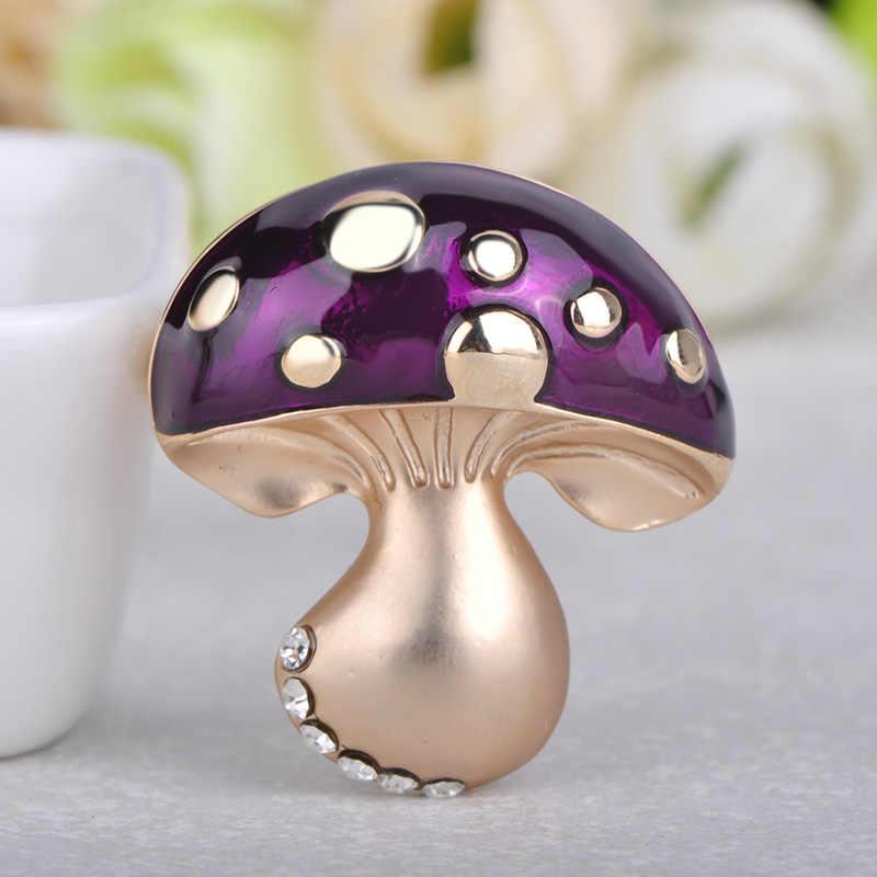 FUNMOR/Милая эмалированная точечная брошь гриб, розовое золото, кристалл, фиолетовый цвет, растение, корсаж, для женщин, Детский кардиган, пальто, украшение, нагрудные булавки