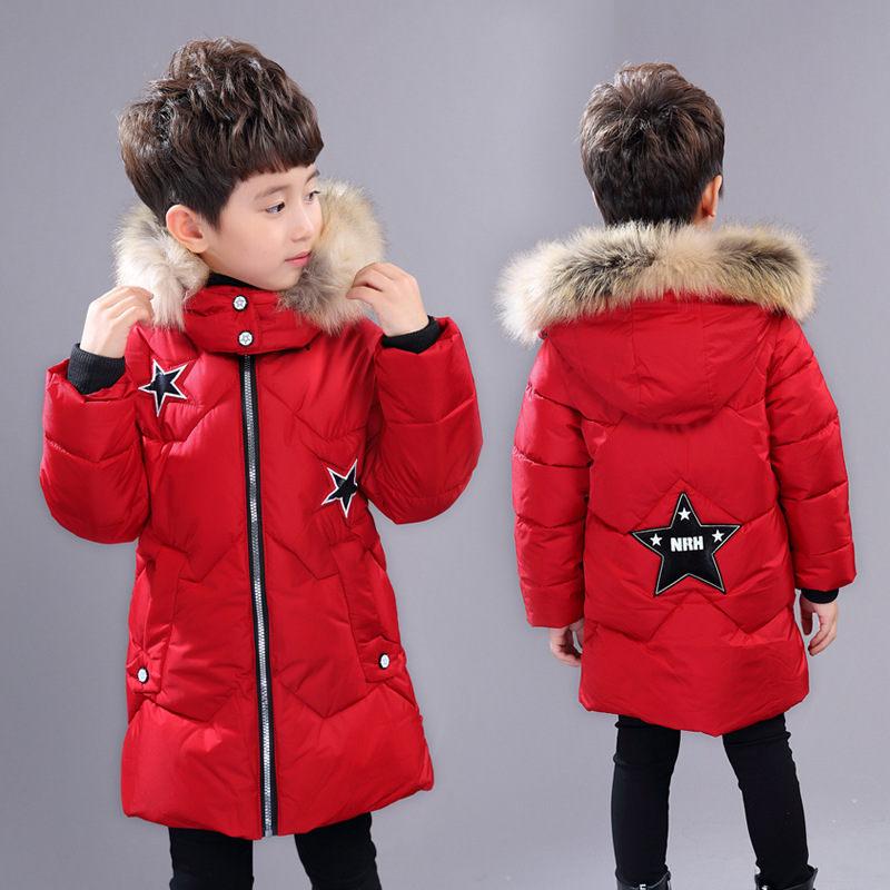 2018 Warm Boys Winter Wadded Jackets Baby Children Fur Collar Coat Thick Cotton-padded Jacket Kids Outerwears Hooded Infant Coat double breasted cotton padded jacket stand collar middle aged mother quilted coat plus size women winter wadded outerwear xh499
