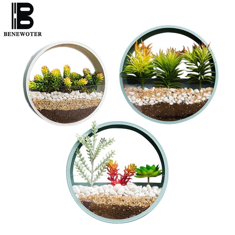 Brief Wall Vase Iron Art Solid Color Bonsai for Home Decoration Crafts  Succulent Flower Plant Stone Holder Hanging Vase Basket
