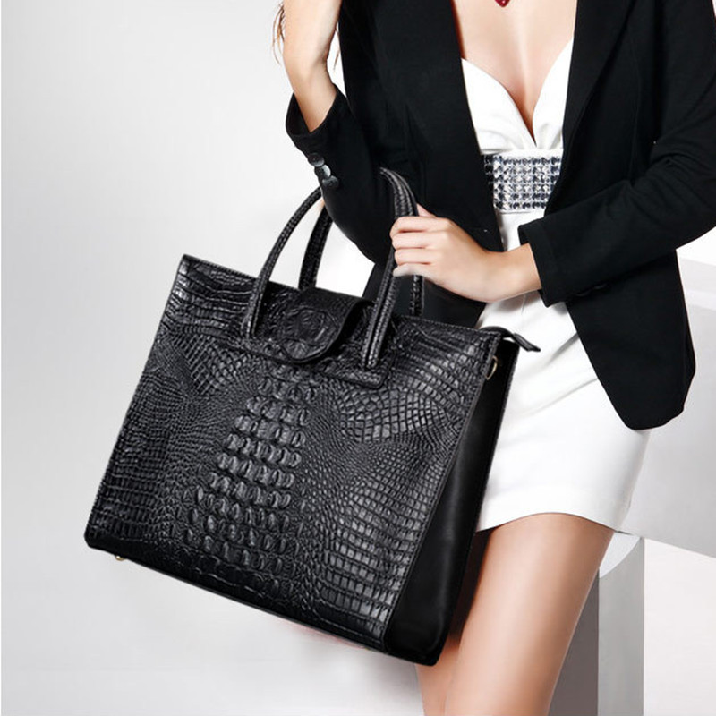 2016 Fashion genuine leather handbag women top quality leather shoulder bag crocodile pattern women portable messenger handbag