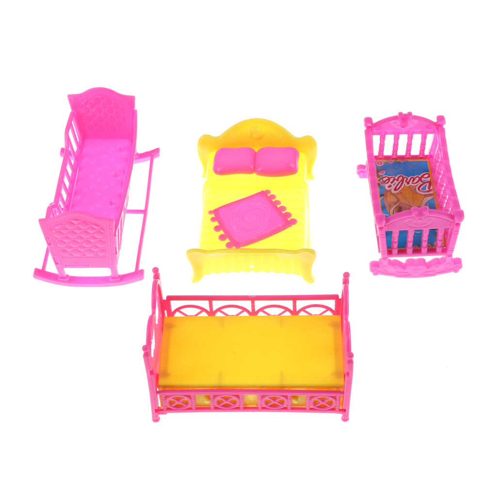 One Set Doll Accessories Cute Platic Rocking Cradle Bed Play House Toys For Mini doll house Furniture For  Kelly Doll