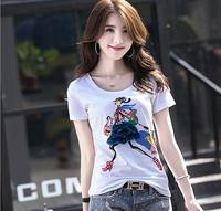 Brand Fashion Women S High End Diamond Studded Summer Pattern Slim Short Sleeved T Shirt