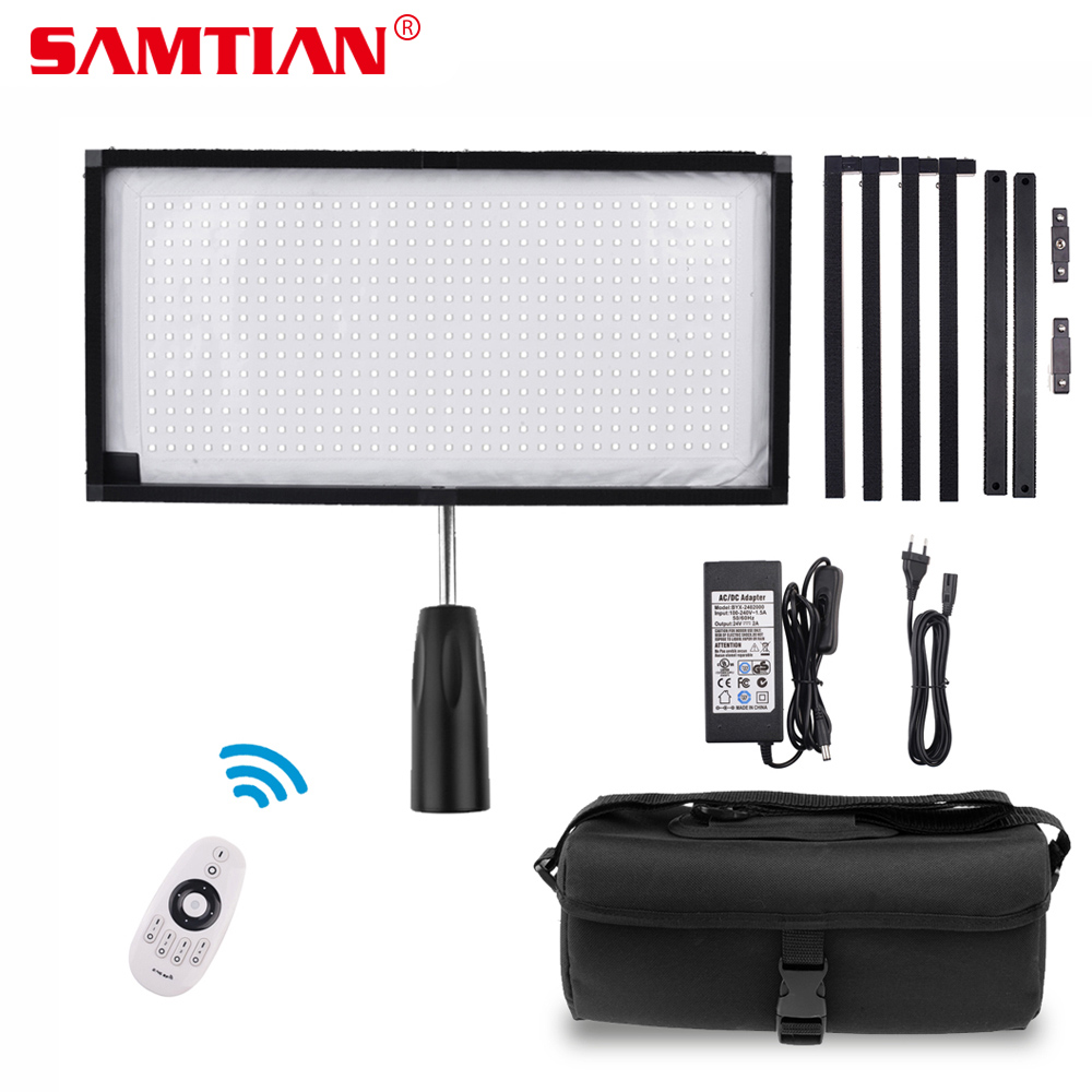 SAMTIAN FL-3060 Flexible LED Video Light Photography Lighting Dimmable 5500K 384 LEDs 30*60cm Panel Light for Video Photo Lamp travor flexible led video light fl 3060 size 30 60cm cri95 5500k with 2 4g remote control for video shooting