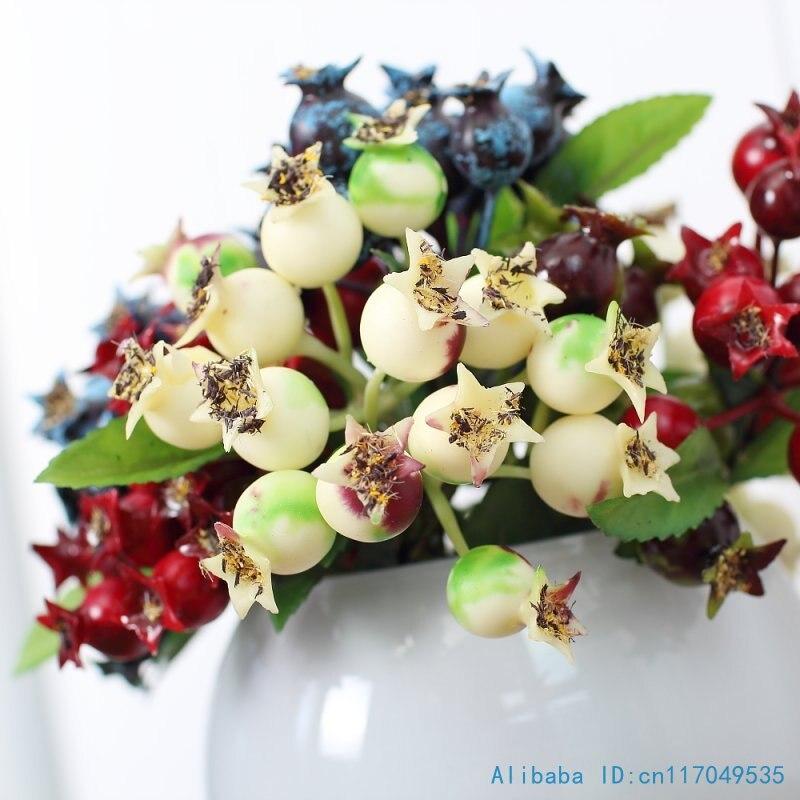 1 UNIDS Hermosa Artificial de Plástico pequeña Granada de Bush Berry Bouquet Dec