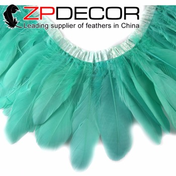 ZPDECOR Goose Feathers 10 Yards/lot Hand Select Premium Quality Aqua Blue Goose Nagoire and Satinettes Party Feather Trim Dress