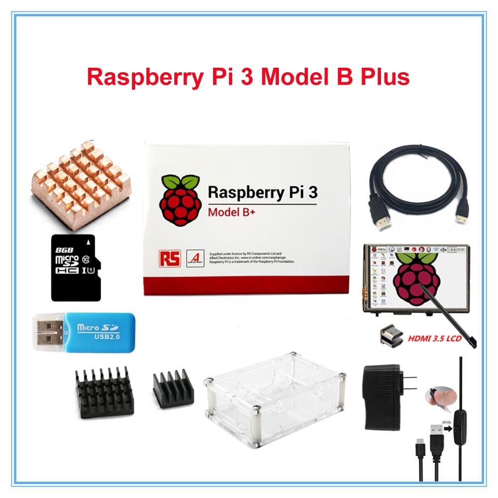Frambuesa Pi 3 Kit/Pi 3 Modelo B Plus + 3,5 pulgadas HDMI LCD pantalla táctil + + 2.5A alimentación + 8 GB TF + disipadores + Cable HDMI