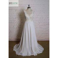 Ivory Lace Chiffon A Line Wedding Dress V Neck Floor Length Chapel Train Cap Sleeves Real