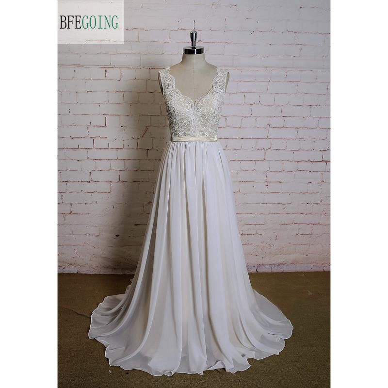 Ivory Lace Chiffon A-line Wedding Dress V-Neck Floor -Length Chapel Train Cap Sleeves  Real/Original Photos Custom Made