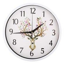Deer Wall Clock Clocks Creative 12 Inch Living Room Study Time Fashion Needle Quartz Decoration Bedroom Watch