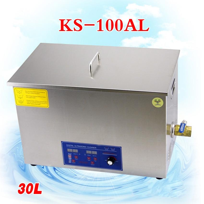 1PC Pembersih Pembersihan Ultrasound Mesin, cermin mata, barang kemas atau pembersihan makanan laut, KS-100AL 30L 600W dengan bakul