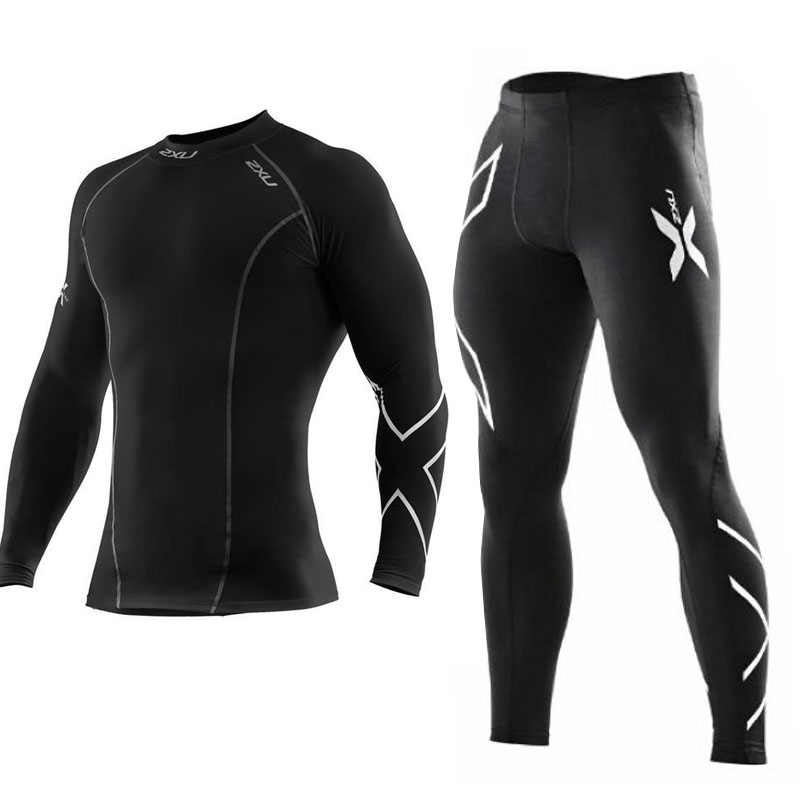 Men Gym Compression Bodybuilding Sports Set For Sports Trainning Mens High Quality Tight Long Clothes Pants Black Sports Set