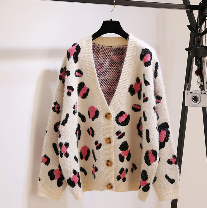 Han Edition of New Fund of 2019 Autumn Loose Languid Is Lazy Fashion Leopard Single-breasted Knitting Cardigan Her Red Sweater