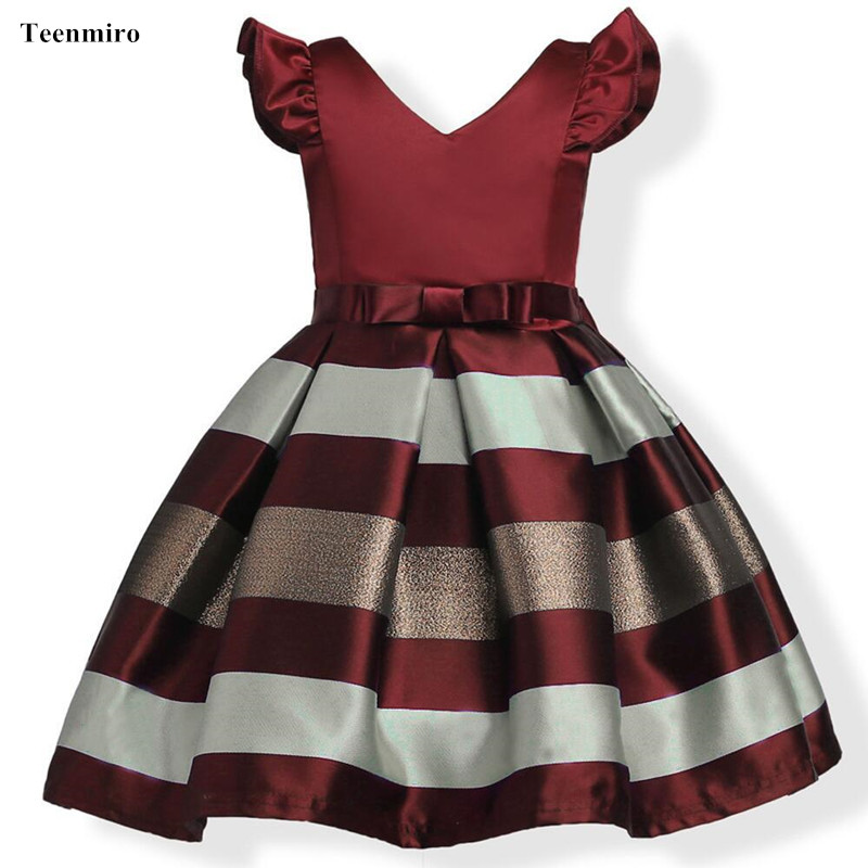 Summer Kids Dresses Girl Stripe Princess Dress Toddler Reception Formal Night Dress Children Wedding Party Clothes Costume Age 3 summer kids girls lace princess dress toddler baby girl dresses for party and wedding flower children clothing age 10 formal