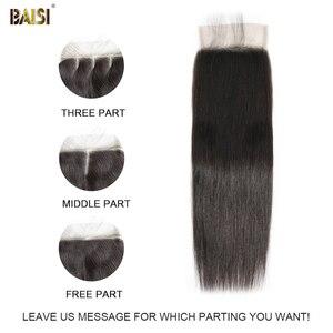 Image 5 - BAISI волосы перуанские прямые натуральные волосы, 3 пучка с 4X4 закрыванием, 100% натуральные волосы для наращивания, длинные, бесплатная доставка