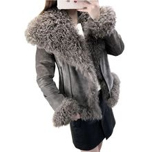 Women Real Sheep Fur Coat Winter Warm Fashion Genuine Merino Sheepskin Leather Jacket Natural leather