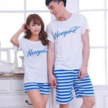 Summer lovers sleepwear cotton short-sleeve 100% Women cartoon sleep set male women's shorts men's clothing plus size lounge