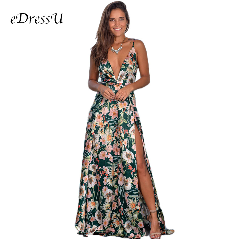 9 Colors Women Maxi Dress High Slit Sleeveless V Neck Summer Dress Beach Holiday Casual Long Dress eDressU LQ 2301 in Dresses from Women 39 s Clothing