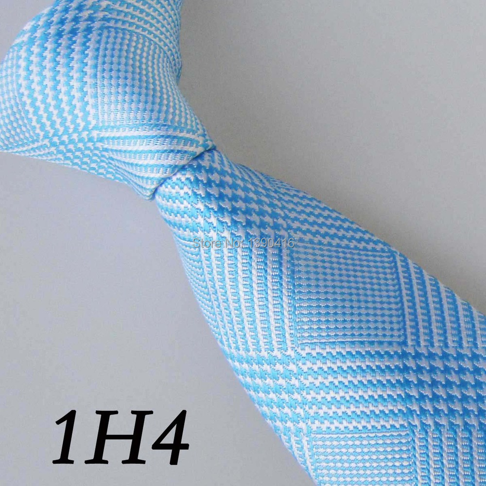 2018 Latest Version Mens Ties Border White/Sky Blue Grid Striped Necktie&Acessorios Masculinos&Designer Tie&Gravata Masculina