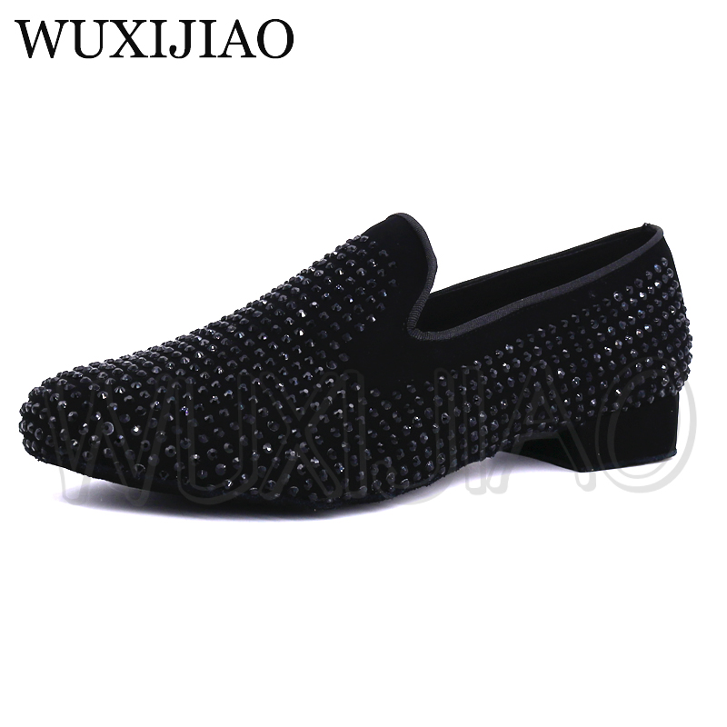 WUXIJIAO New Shining Black Rhinestone Brand New Modern Men's Ballroom Tango Latin Dance Shoes Men's Dance Shoes 4.5cm/2.5cm