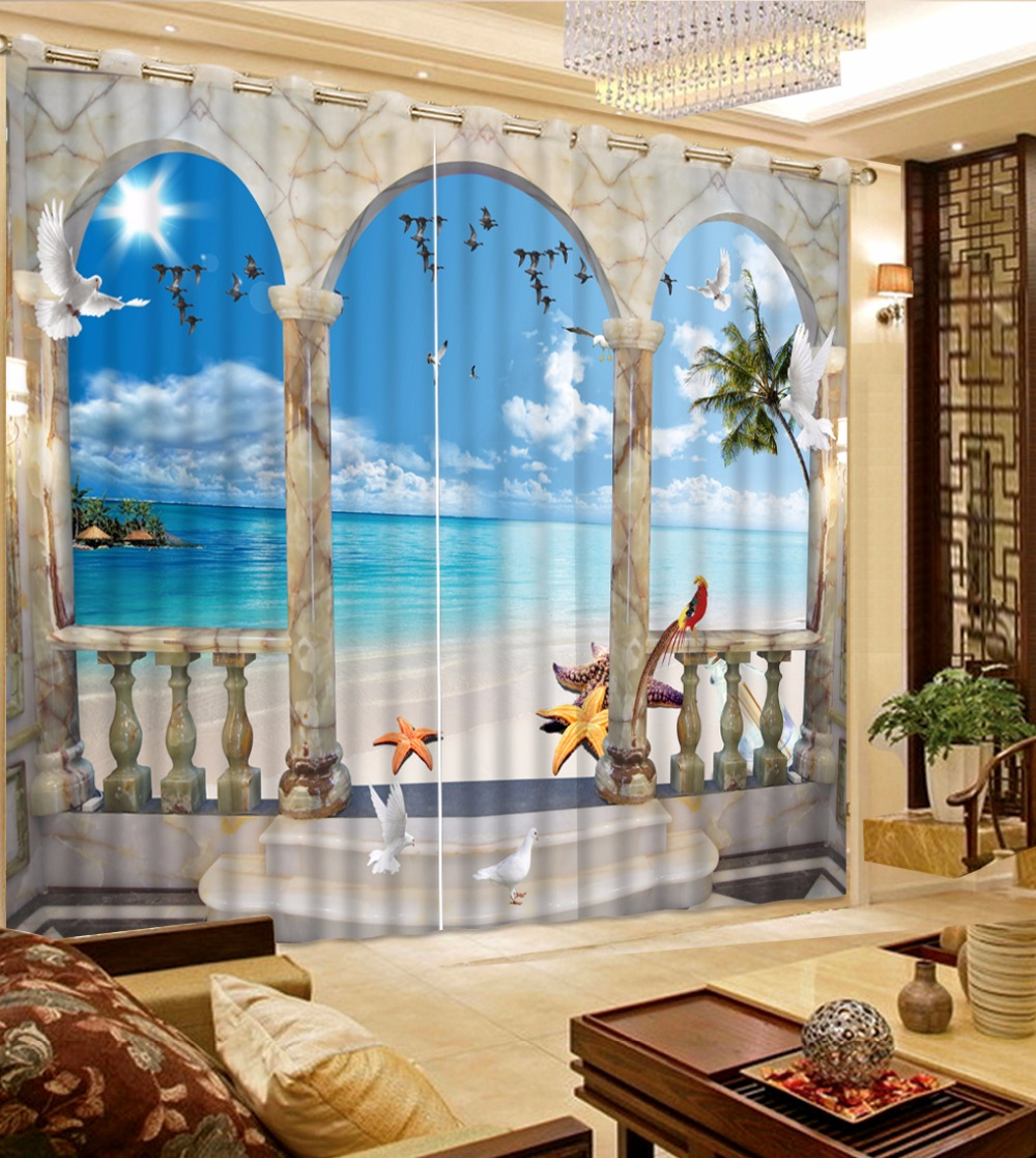 European Roman Curtains Photo Printing Sea Landscape Curtains For Living Room Hooks Polyester 3D Curtains