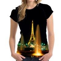 Brand Design Women Summer T Shirts Fashion Paris Eiffel Tower Print Teens Girls T shirt Short Sleeve Top Tee Clothes