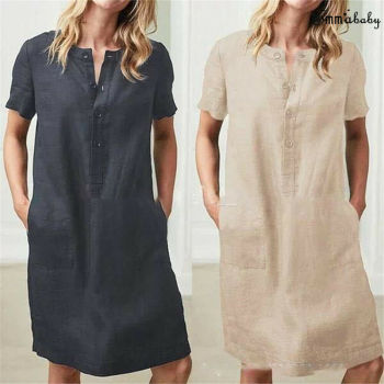 2019 Womens Short Sleeve Button Cotton Linen Ladies Summer Dress Oversize  Loose Casual Breasted Pocket Solid Short Dresses summer casual women dresses o neck loose short sleeve oversize loose sports fashion leisure dress khaki including belt