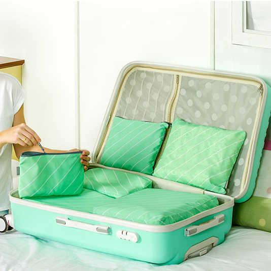 6 Pçs/lote viagem zipper bolsa de Alta qualidade terno tecido macio receber bolsa de saco de roupas classificação sacos viajar saco de armazenamento à prova d' água