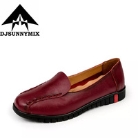 DJSUNNYMIX 2017 New 100 Genuine Leather Women Flats Shoes Female Casual Loafers Soft Outsole Non Slip