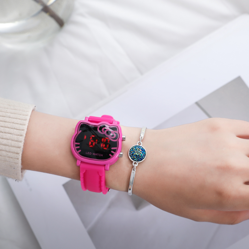Top Quality Colors Cute Hello Kitty Women Watch Kids Fashion Casual Led Wristwatch Children Digital Watch Gift Watch Clock Relog