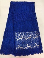 Latest Nigerian French Mech Lace Fabric Embroidered High Quality African Lace Fabric 2017 Blue Cord Lace