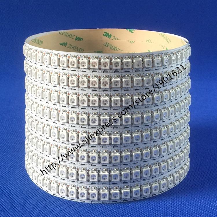 Hvit PCB 3.2FT 1M 144 Leds WS2812B 5050 RGB LED Strip WS2812 Individuell adresserbar Ikke vanntett