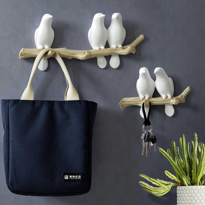 Декоративные настенные крючки с птицами из смолы для украшения дома, аксессуары для ключей, сумки, вешалки для одежды