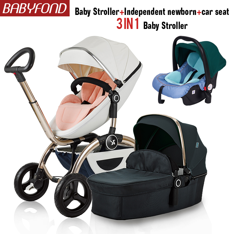 Kuudy 3 and 1 Baby Stroller Two-Wheel Four Wheeler Reclining Foldable Baby Stroller