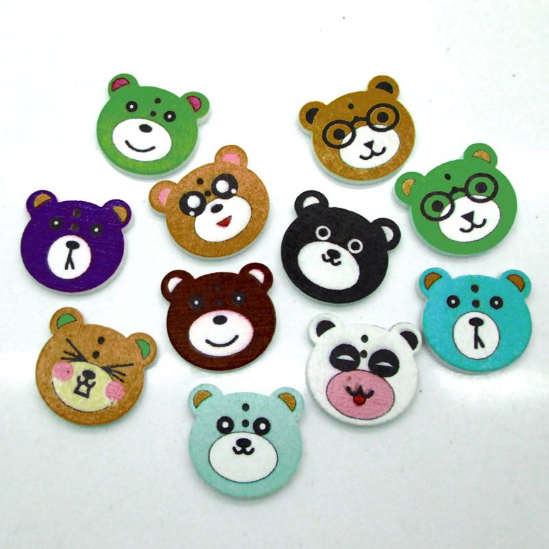 100 Pcs Cartoon Bear Man Boutons de couture en bois 2 Trous pour
