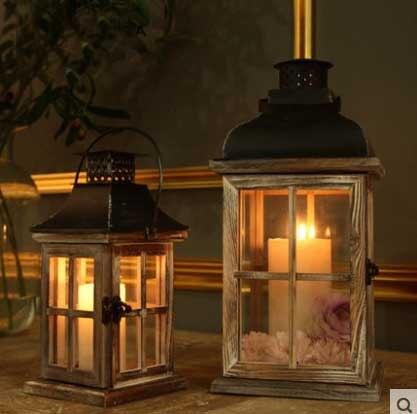 Wonderbaar Glas Houten Retro Lantaarn Winddicht Tafel Kaarshouder Antieke KD-36