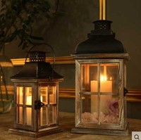 Glass Wooden Retro Lantern Windproof Table Candle Holder Antique Wedding Home Garden Bar Wooden Candle Lantern