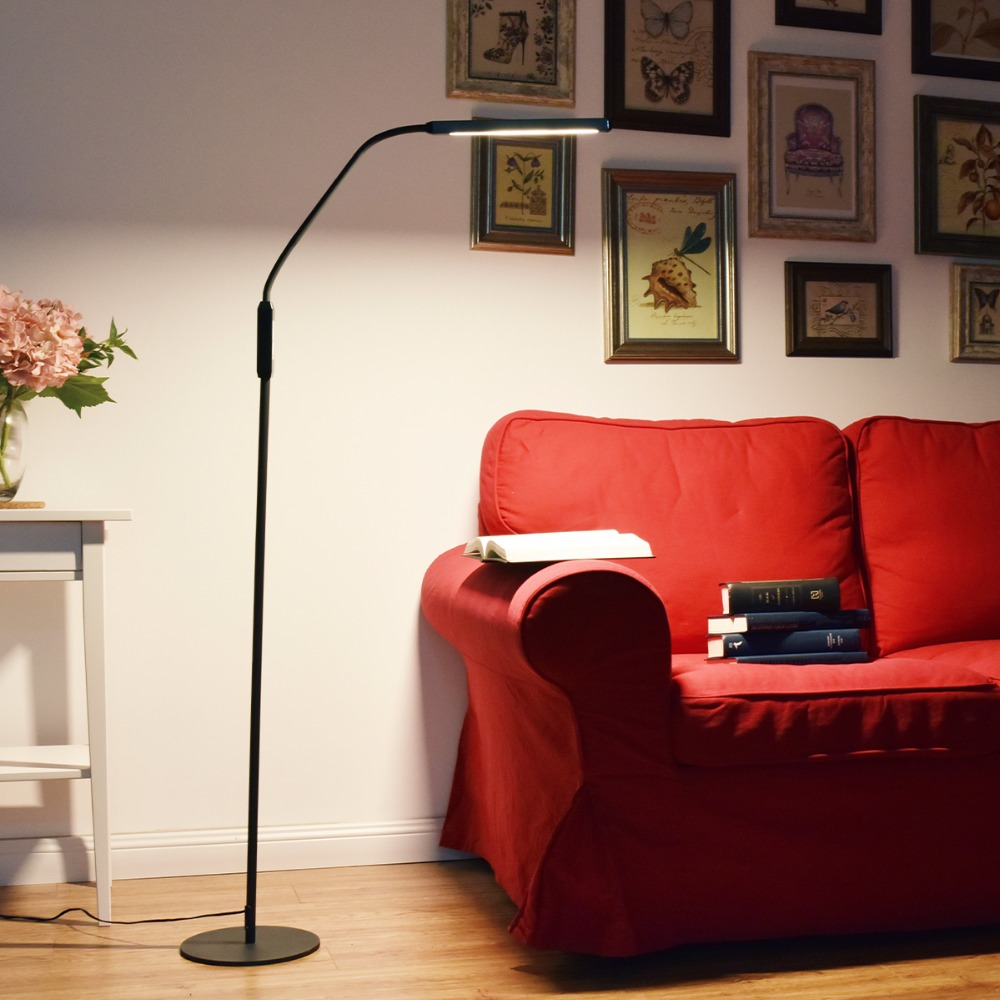 Cordless floor lamp - Minimalist Led Floor Lamp 5 Color Modes Touch Control Flexible Gooseneck Dimmable Standing Lamp For Living