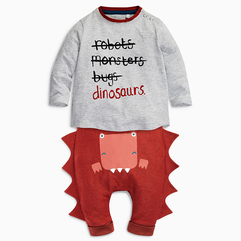 Menoea 2018 New Baby Clothing Sets Autumn Spring Style Baby Clothes Long Sleeve Letter T-shirt+Dinosaur Casual Pants 2pcs Suit