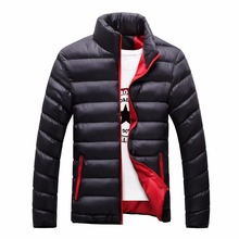 Stand Collar Winter Purple Navy Blue Cotton Winter Jacket Parka Hot Warm Fashion Brand Clothing Coats 3XL Big Size