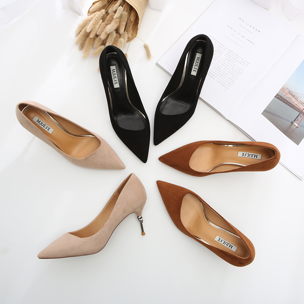 HEYIYI Women Dress Pumps Thin skull High Heels Suede Leather Shallow Pointed Toe Solid Camel Black Color Fashion Women Shoes