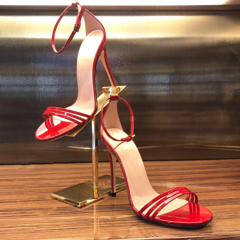 a1b3f03b500e Hot Fashion Nude Patent Leather Triple Narrow Band Ankle Strap Women Sandals  Open Toe Candy Color Stiletto High Heel Shoes Woman-in Women s Sandals from  ...