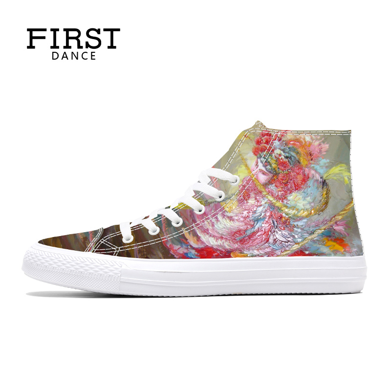 2018 Customized 3D Printed High Top Shoes Students Canvas Shoes Girls Party Spring Casual Shoes Comfortable Men Flats DIY Shoes