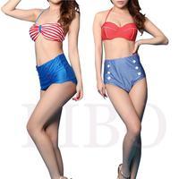 2014 Cutest Retro Swimsuit Swimwear Vintage Pin Up High Waist Bikini Set S M L XL