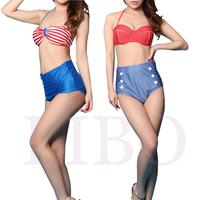 2014 Cutest Retro Swimsuit Swimwear Vintage Pin Up High Waist Bikini Set S M L XL