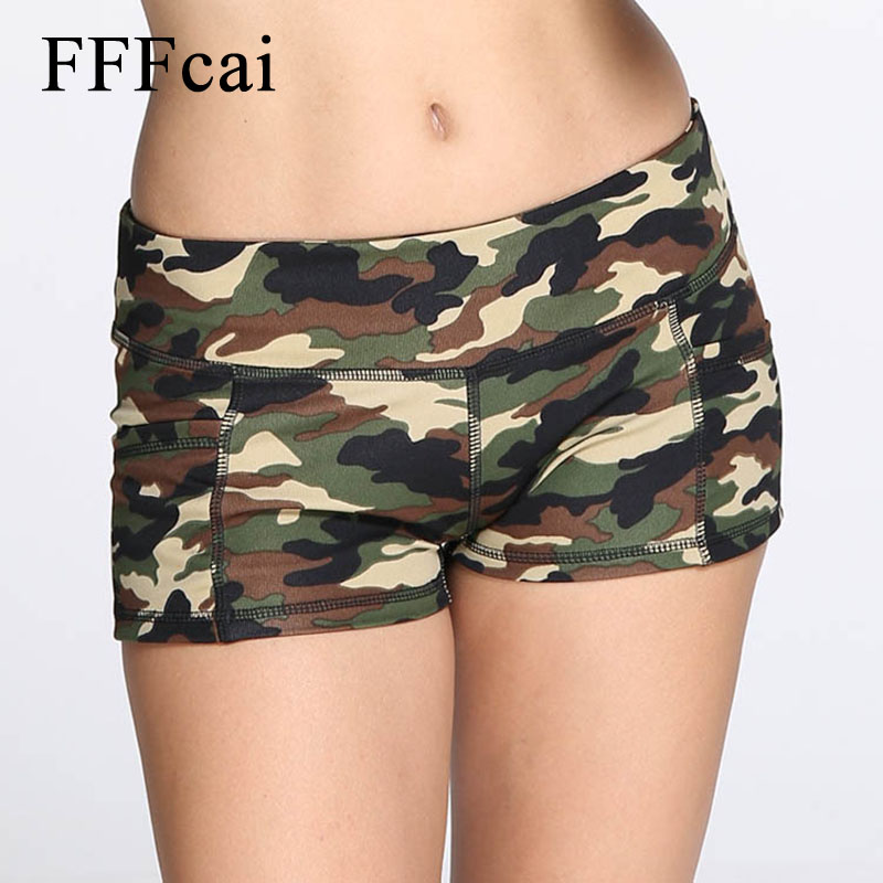 FFFcai Women Sport Fitness Yoga Shorts Women Athletic Shorts Cool Ladies Sport Camouflage Running Yoga Short Fitness Clothes