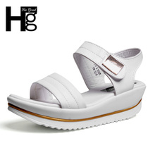 HEE GRAND 2017 New Women Platform Sandals Hook& Loop Wedge Sandals Summer Peep Toe Height Increasing Shoes Woman XWZ2413