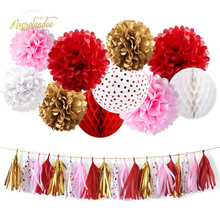 NICROLANDEE 30 pcs/set Red Pink Party Decoration Pom Flowers Paper Lantern Tassel Garland Valentines Bridal Shower DIY